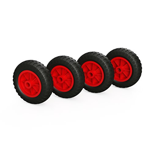 PU Rad Ø 160 mm Gleitlager Kompressor Rad Ersatzrad (schwarz/rot) (4)