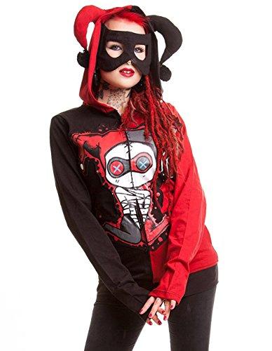 Cupcake Cult Damen Harlekin Kapuzenjacke - Jester Hood Jacke mit Maske L