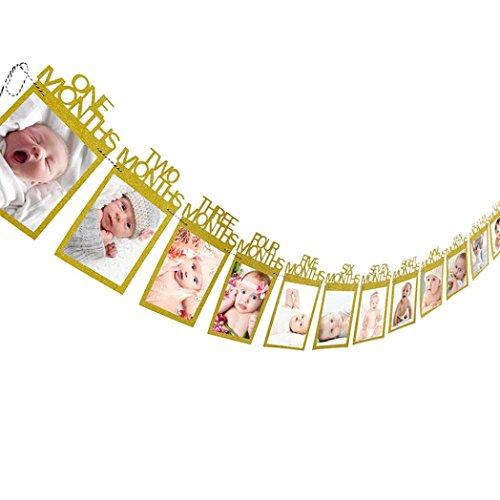 Huihong Bilderrahmen Bilderrahmen mit Klemmen, Kinder Geburtstag Geschenk Dekorationen 1-12 Monat Foto Banner Monatliche Foto Wand (Kostüme Engel Schwarzer Kit)