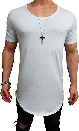 Deep Shirt Basic Oversize Tee Longshirt Long Hoody Sommer Herren Sweatshirt NEU Sweater Pullover langes Longsleeve m Kapuzenpullover Langarm Jeans Sweat-Jacke Tank-top Pulli (S, Weiß - deep²) Denim Long Sleeve Sweatshirt