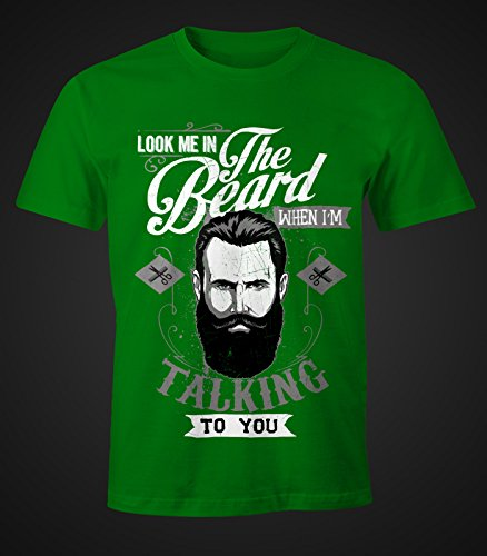 Herren T-Shirt - Look me in the beard - Moonworks Grün