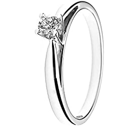 And You - & You - Bague solitaire de mariage Femme - 18-k-(750) Or blanc Diamant Ronde Taille 50 - AMZ-BG SOLO-015/50
