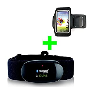 41pzbmQVoaL. SS300  - GO-SHOPPING24 Bluetooth 4.0and Ant Chest Strap and Bracelet for Android Samsung S3/S4/S5/S6/S7/S8, Sony, LG, HTC, Google Heart Rate Monitor for runtastic, Wahoo Strava App