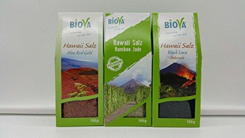 3er Hawaii Salz Probier- Mix Set BIOVA -feinste Salze aus aller Welt - 150g Hawaii Salz Red Gold (rot) + 150g Hawaii Salz Bamboo Jade (grün) + 150g Hawaii Salz Black Lava (schwarz) Gourmet Gewürze Salz Set, Feinkost Gewürz Salz Geschenkbox