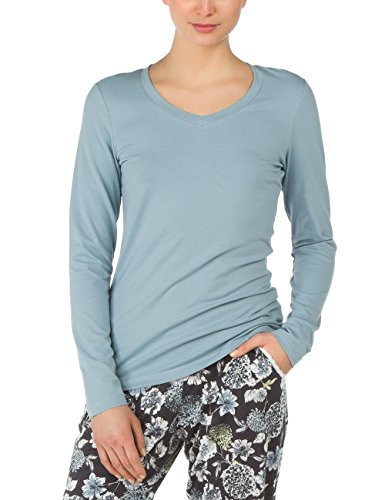 Calida Damen Schlafanzugoberteil Top langarm/3/4 Arm Favourites Trend 1, Gr. 44 (Herstellergröße: M=44/46), Blau (stream blue 604)