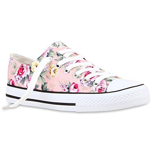 Damen Sneakers Low Blumen Prints Freizeit Schuhe Turnschuhe Rosa