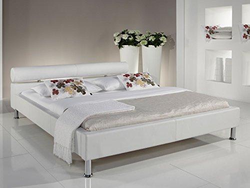 möbelando Polsterbett Bett Betten Ehebett Doppelbett Jugendbett Einzelbett Arno I (120x200 cm, Weiß)