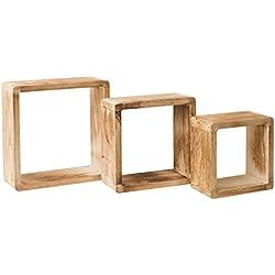 Rebecca Mobili Lot de 3 Etageres Carre, Etageres Murales, Bois Clair, Design Vintage Retro, pour Chambre Salon – Dimensions: 26 x 26 x 9 cm (HxLxL) - Art. RE4511