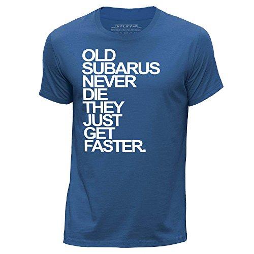 stuff4-hommes-moyen-m-bleu-royal-col-rond-t-shirt-old-subarus-subaru-never-die