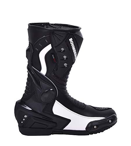 Bohmberg Premium Stivali da Moto, Stivali Sportivi in Pelle, Scarpe da Moto per Uomo, Pelle Idrorepellente e Robusta con Protezioni rigide Applicate - 46