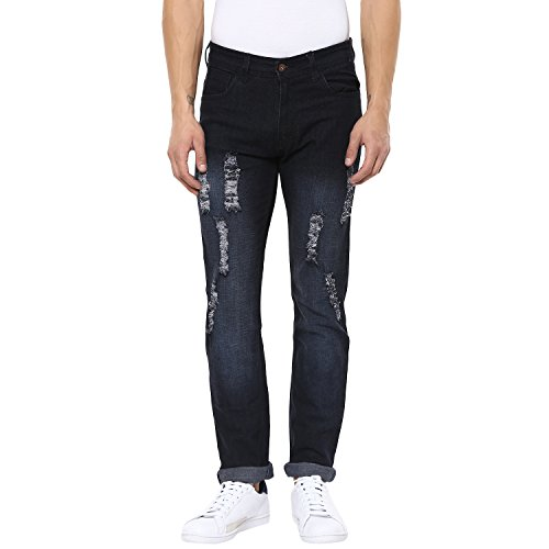 Urbano Fashion Men's Heavy Distressed Black Slim Fit Stretch Jeans