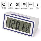 Alaso Réveil en Ligne,Reveil Matin,Réveil de Voyage, Réveil Digital Alarme Horloge Numérique Alarm Clock LCD avec Snooze,rétro-éclairage, lumière de Nuit,température,Affichage de la Date