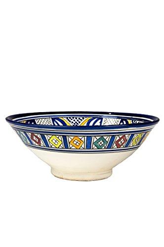 farbige teller Orientalische Keramikschale Keramikteller Rund Amsah Ø 30cm Groß | farbige marokkanische Keramik Schale Teller bunt aus Marokko | Orient große Keramikschalen flach Geschirr orientalisch handbemalt
