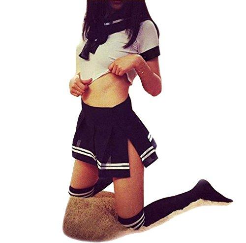 (V-Ting Sexy Schulmädchen Kostüm Halloween Cosplay Fancy Dress Outfit Mini Sailor Anzug mit Strümpfen)