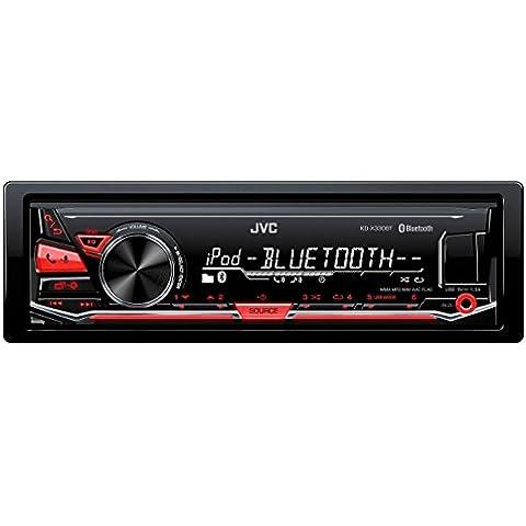 JVC KD-X330BT receptor multimedia para coche - Radio para coche (FLAC, MP3, WAV, WMA, FM, LW, MW, LCD, Blanco / Rojo,