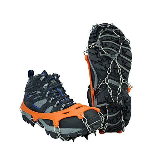 HJUN Ramponi da Alpinismo da Corsa per Tacchetti da Ghiaccio - con Sistema a 8 Punte per Proteggere in Sicurezza camminando su Neve, Ghiaccio, Fango e Altre Strade bagnate