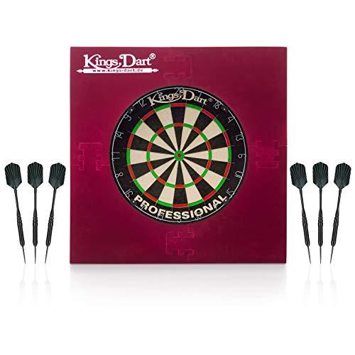 Kings Dart Dart-Set Professional   Profi Dartset Komplettset: Profi-Dartscheibe, 6X Profi-Steeldarts, Dart-Surround   Sisalborsten, Spider-Feldbegrenzung, Messing-Barrels   Soft- u. Steeldart
