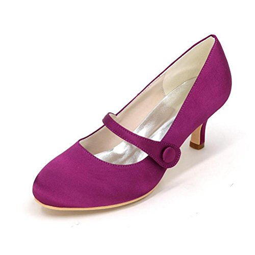 Ei&iLI Le donne di pompe raso scarpe da sposa punta chiusa pulsante tacco medio Court Party Dress Shoes EU35-EU42 Purple