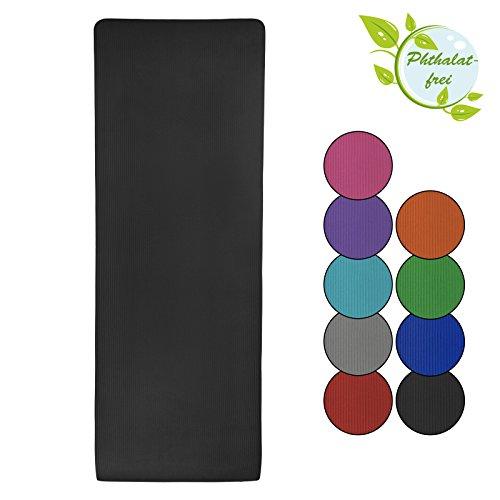 BB Sport Esterilla colchoneta –de yoga – Yjuna 180 cm x 60 cm x 1.5 cm para fitness deportiva pilates gimnasia ejercicio, Color:Combat Black