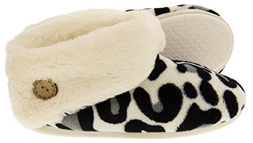 Donna Leopardato Stivali Pantofola Inverno Bianco