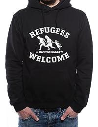 Mister Merchandise Herren Hoodie Kapuzenpullover Refugees Welcome - Bring  Your Families Flüchtlinge Flüchtling Hoody Sweater 4bfe437913