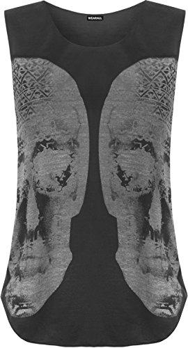 WearAll - Damen schädel muscle back ärmellose vest rundem halsausschnitt Top - Schwarz - 40-42