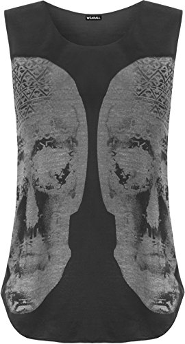 WearAll - Damen schädel muscle back ärmellose vest rundem halsausschnitt Top - 2 Farben - Größe 36-42 Schwarz