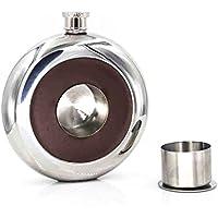Shot Flask, easytar Fiaschetta con un built-in Liquore, pieghevole, in acciaio inox con decorazione pelle rigenerata