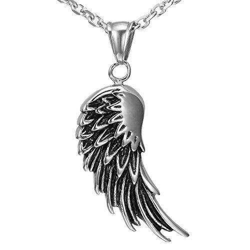 Urban Jewelry - Men's Stainless Steel Angel Wing Pendant (Black, Silver)