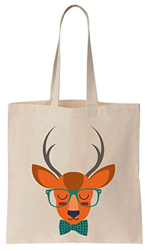 Vintage Style Cute Hipster Deer With Huge Glasse Cotton Canvas Tote Bag Baumwollsegeltuch-Einkaufstasche (Print Tote Polka Dots)