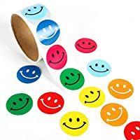 Lezed Emoji Smiley Sticker Yellow Smile Face Happy Stickers Circular Smiley Adhesive Sticker Happy Face Circle Dot Stickers Special Decorative Stickers for Teachers and Children 1 Roll 100Pcs