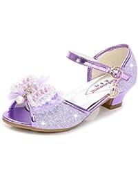 YOGLY Sandalias de Niña Verano Sandalias de Tacón Alto Niñas Zapatos de Tacón Lentejuelas de Perlas Fantasía Zapatos Disfraz de Princesa Fiesta