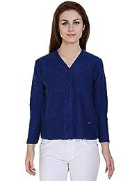 TAB91 Women's Blue V Neck Designer Sweater /Cardigan