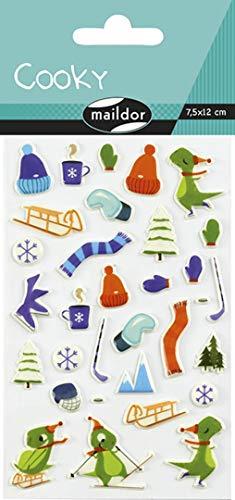 Maildor CY086C Packung mit Stickers Cooky 3D (1 Bogen, 7,5 x 12 cm, ideal zum Dekorieren, Sammeln oder Verschenken, Wintersports) 1 Pack