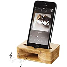 Soporte de madera de bambú para teléfono móvil, soporte para iPhone con amplificador de sonido