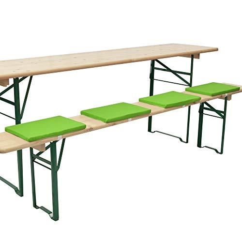 Beautissu 4er Set Comfort XS Gepolsterte Bierbankkissen 25x36x2 cm Kissen Sitzkissen mit Befestigungsband - Apfelgrün - In verschiedenen Farben erhältlich