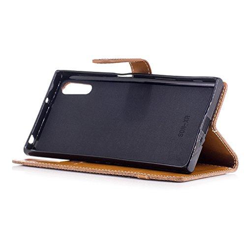 Custodia Xperia XZ, ISAKEN Flip Cover per Sony Xperia XZ/XZS con Strap, Elegante Bookstyle Contrasto Collare PU Pelle Case Cover Protettiva Flip Portafoglio Custodia Protezione Caso con Supporto di St Plain marrone