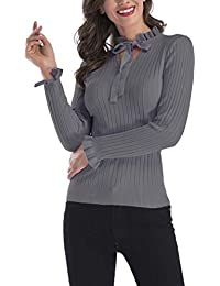 de7953f4ed0e2 Bigood Automne Pull Slim Manches Longues Couleur Uni Froufrous Sweat-Shirt  Casual