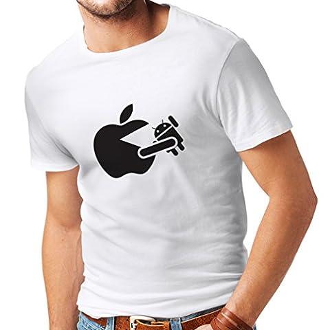 Männer T-Shirt Lustiger Apfel isst einen Roboter - Geschenk für Tech-Fans (X-Large Weiß Schwarz)