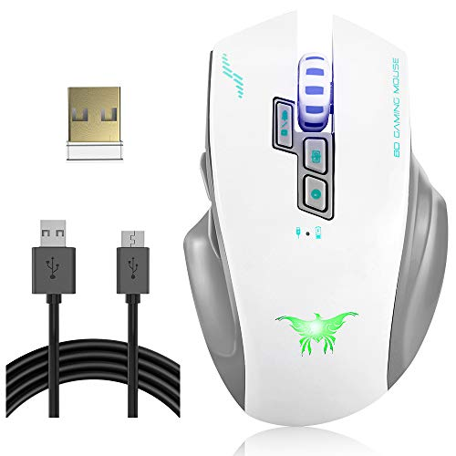 VersionTECH. Kabellose Gaming-Maus mit W100 W100-Kabel, Gaming-Maus mit 3 LED-Lichtern 8 Tasten 4 Verstellbare Ebenen für PC und Mac weiß -
