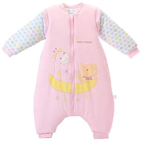 Baby Schlafsack mit Beinen Warm gefüttert Winter Langarm Winterschlafsack mit Füssen,Junge Mädchen Unisex Overall Schlafanzug(XL/Koerpergroesse 95-105cm, Pink/3.5 Tog)