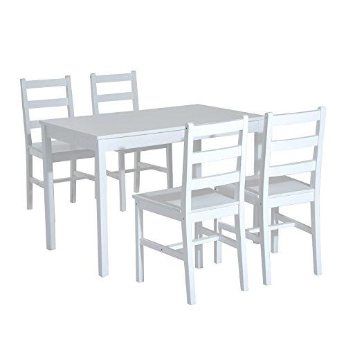 Homcom® Essgruppe Sitzgruppe 5-tlg. Esstisch Set Holztisch mit 4 Stühlen, Kiefer (Weiß)