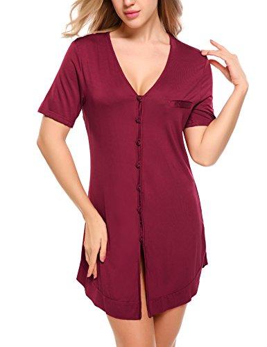 Kurzarm-nachthemd (Damen Viktorianisch Stil Nachthemd Kleid Negligee Sommer Sleepshirt Kurzarm Sexy Schlafshirt Schlafanzüge Nachtwäsche)
