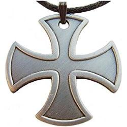 Equinoxis - Colgante de caballero templario, diseño de cruz templaria, plata con acabado antiguo