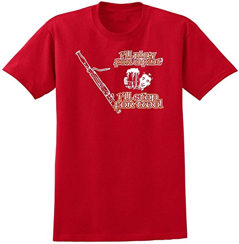 MusicaliTee Bassoon Play for A Pint - Red Rot T Shirt Größe 87cm 36in Small