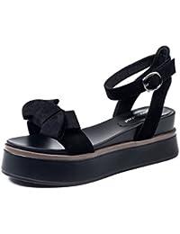 Sandalias de la cuña del Bowknot Zapatos planos femeninos del estudiante del verano de los altos talones Zapatos romanos retros ( Color : Negro , Tamaño : 36 )