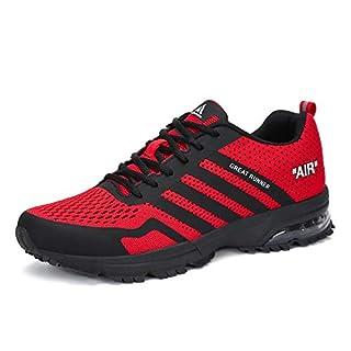 Laufschuhe Damen Sneaker Herren Freizeit Turnschuhe Leichte rutschfeste Atmungsaktive Sportschuhe Mesh Schuhe Männer Frauen Rot 45 EU