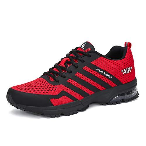 Laufschuhe Damen Sneaker Herren Freizeit Turnschuhe Leichte Rutschfeste Atmungsaktive Sportschuhe Mesh Schuhe Männer Frauen Rot 40 EU