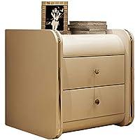 Preisvergleich für Small coffee table Möbel Nachttisch Schrank Schrank Sofa Schrank, Leder Doppel Schublade leicht zu reinigen, weiß 40 * 55 * 47CM