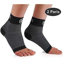 CAMBIVO 2 Paar Sprunggelenk Bandage, Knöchelbandage, Fußbandage für Herren und Damen, Kompressionsstrümpfe, Kompressionssocken für Sport, Fussball, Fitness, Volleyball (Schwarz, M)